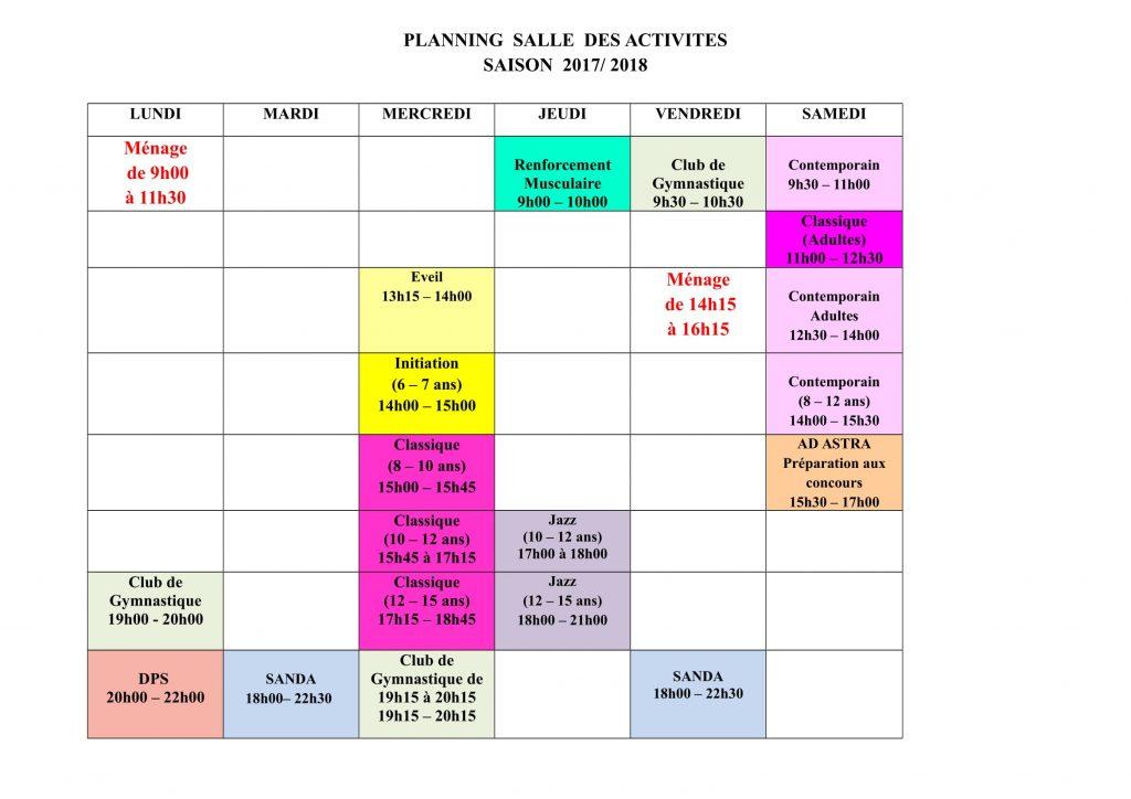 Planning des activités