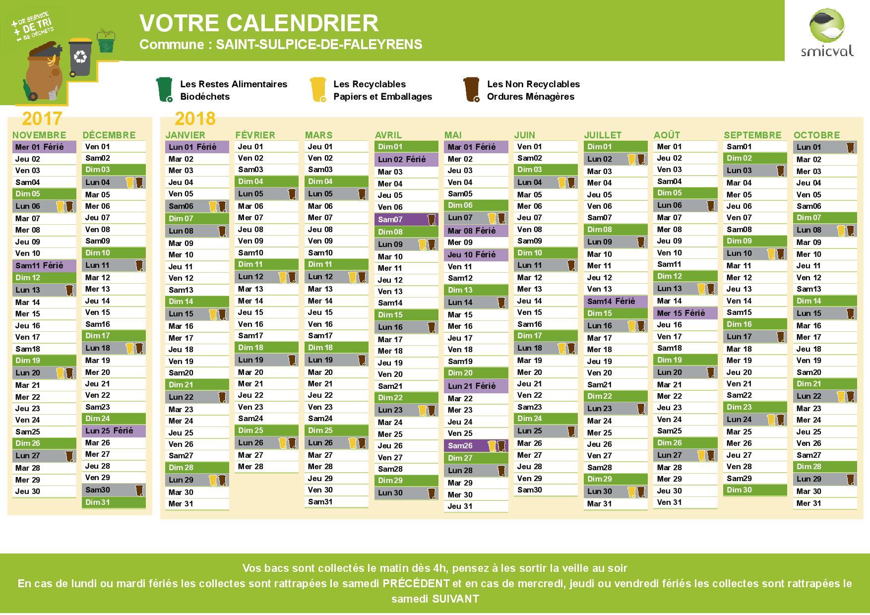 Calendrier Smicval 2021 Calendrier de collecte 2018 des ordures ménagères | Saint Sulpice