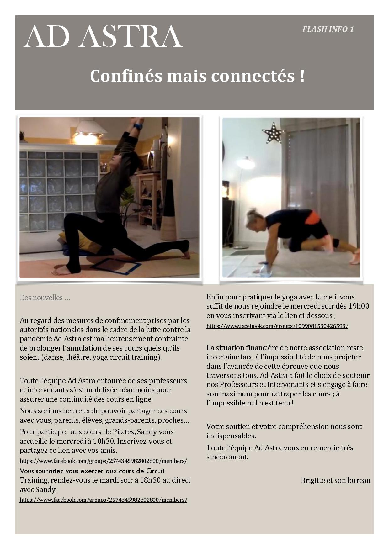 Ad Astra : Circuit training, pilates, Yoga en ligne !