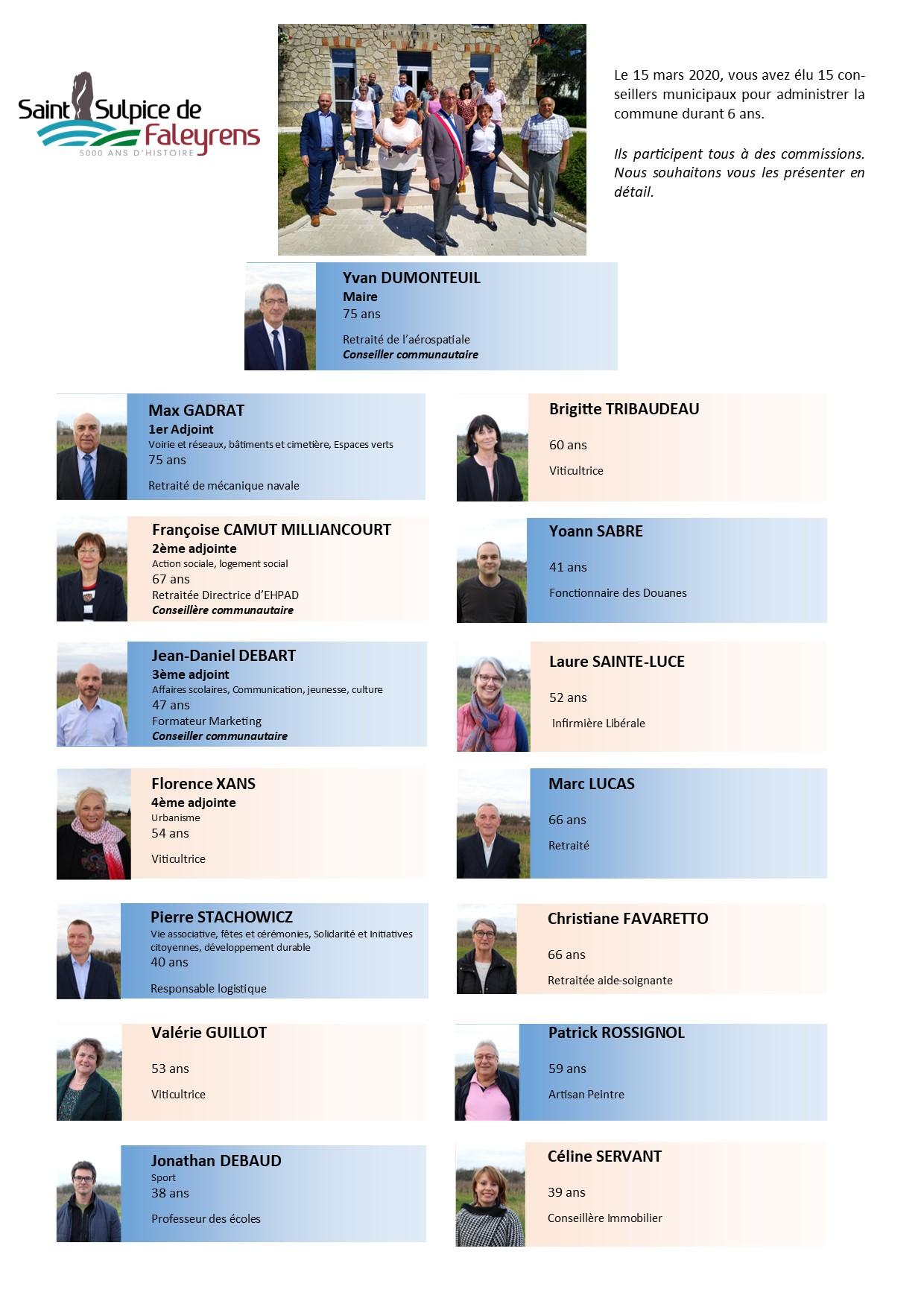 élus au conseil municipal 2020 2026